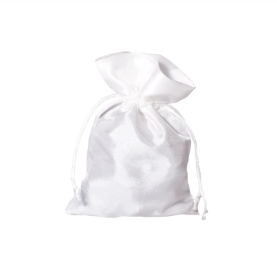Satin fabric bags - ca. 10 x 15 cm - white