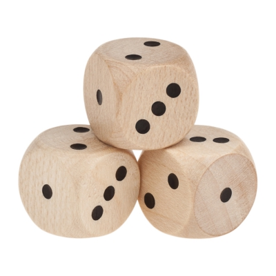 Special Dice (D6) - only 1-3 eyes  wooden - nature - 16 mm