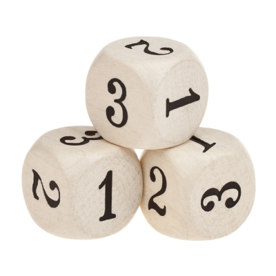 Special Dice (D6) - only 1-3 eyes  wooden - white - 16 mm