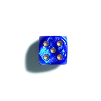 12 mm pearl - blue - dice - 36er polybag
