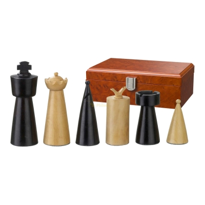 Chess figures - Domitian - wooden - Modern Style - king size 90 mm