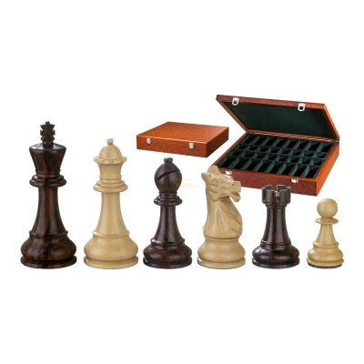 Chess figures - Justitian - wooden - American Staunton - king size 105 mm