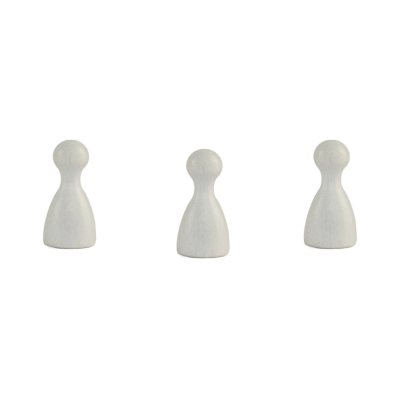 Chinese checkers pieces - Meeple - wooden - white - 24 x 12 mm