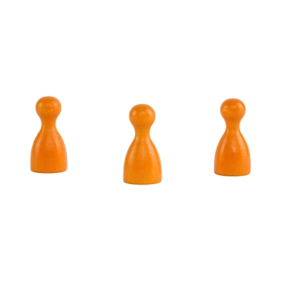 Chinese checkers pieces - Meeple - wooden - orange - 24 x 12 mm
