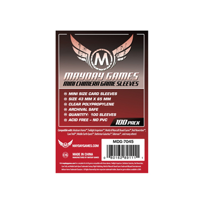 Mini Chimera Game Sleeves (100) - 43 x 65mm (rot) -7045