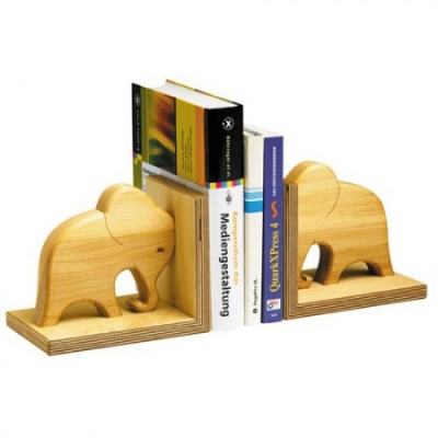 Bookend of oiled solid wood - Elephant -