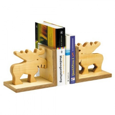 Bookend of oiled solid wood - Moose -
