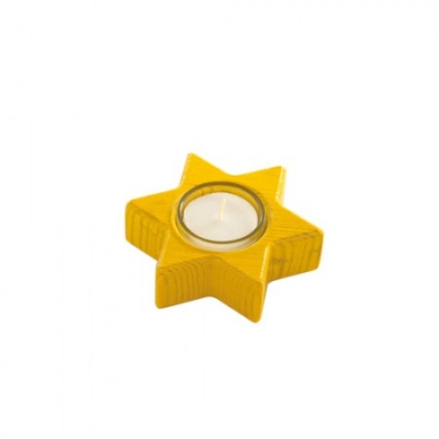 Star Candle - yellow - 10 cm - incl glass tealight