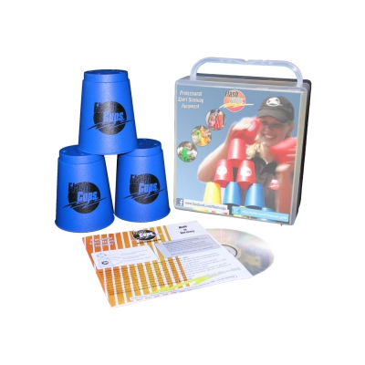 Speed Stacking - FlashCups - 12 Stück - Blau mit Lunchbox+DVD