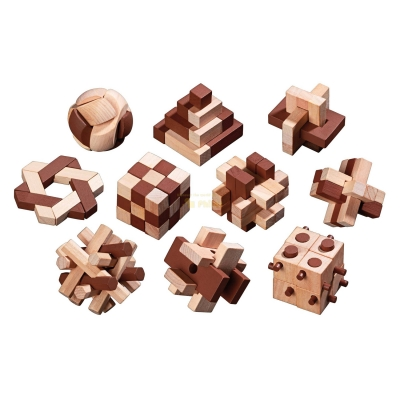 Wooden Puzzle Assortment with 10 Puzzles