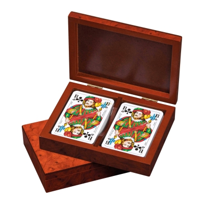 Rommé-Poker-Playing Cards - in box - design veneer optic root wood