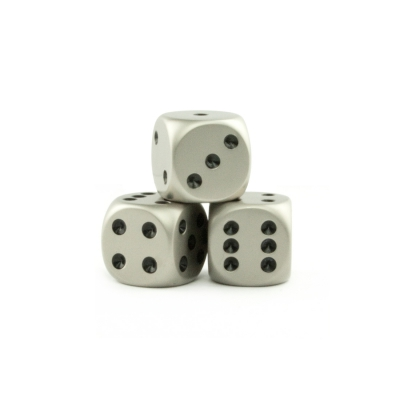 Dice (6) - metal - brushed steel - 16 mm