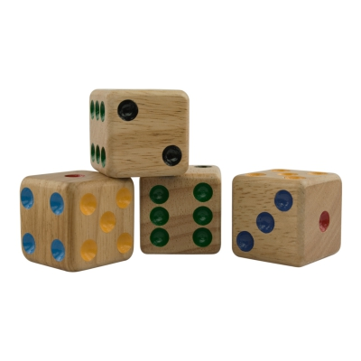 Wooden Dice - 4 pieces - samena-wood - edge size 40 mm - 6-sided