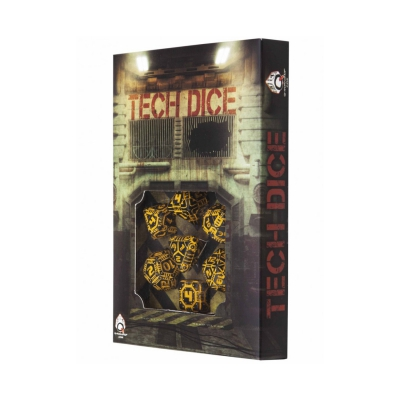Tech Dice Black and Orange - 7 dice