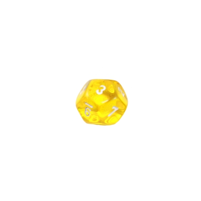12-sided dice - dodecahedron - D12 - 1-12 - yellow transparent