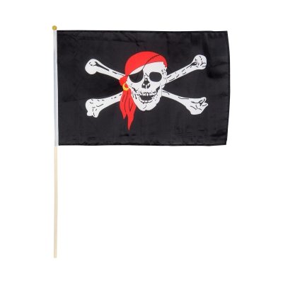 Pirate flag w -  rod 30 x 40 cm
