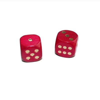 Dice (6) - special imprint - red / gold - wooden - 16 mm