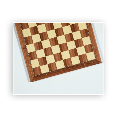 Chessboard - walnut and maple - with numbers and letters - width 52cm - field size 55mm