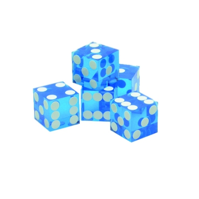 Casino-W�rfel - 5 St�ck-  19mm - blau