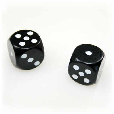 Dice (6) - black - wooden - 16 mm