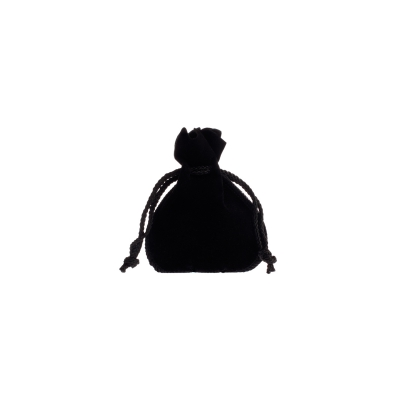 Velvet bag with drawstring - ca. 7,5 x 10 cm - black
