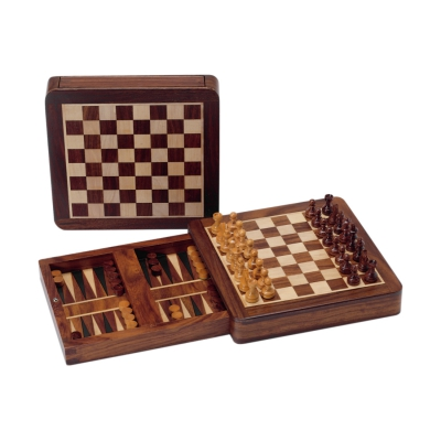 Magnetic chess and backgammon - Rosewood - king size 33 mm