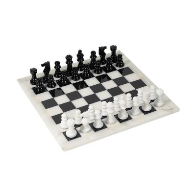 Chess game - Alabaster - black and white - king size 73 mm