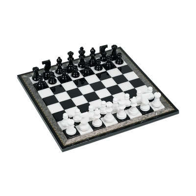 Chess game - Alabaster - black and white - king size 75 mm