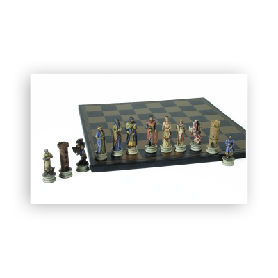 Chess figures - crushed stone - Crusaders - King size 80mm