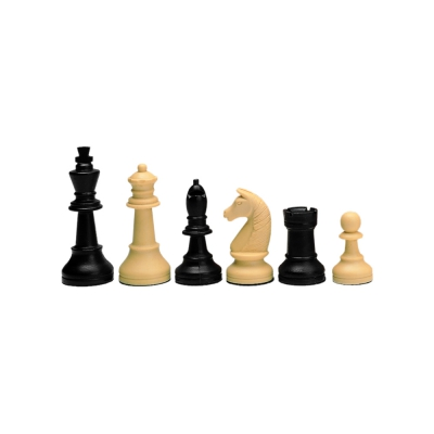 Chess figures - Tournament - plastic - black and beige - King size 90mm