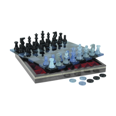 Chess game - Alabaster - black and blue - transparent - king size 75 mm