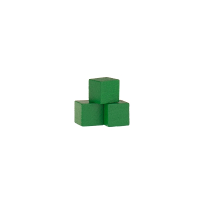 Dice - game piece - edged - green - wood - 10 mm