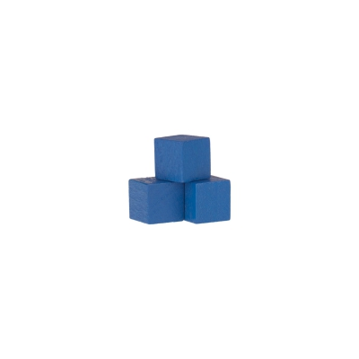 Dice - game piece - edged - blue - wood - 10 mm