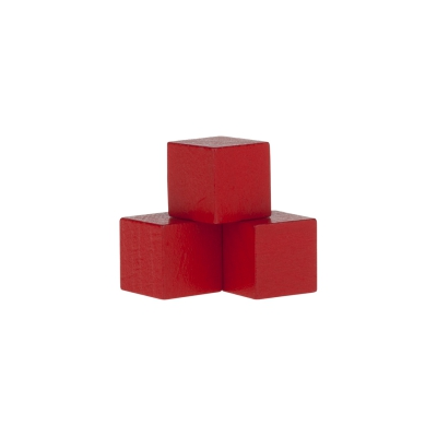 Dice - game piece - edged - red - wood - 15 mm