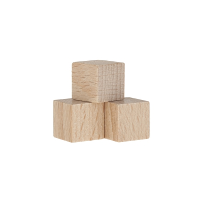 Dice - game piece - edged - natur - wood - 15 mm
