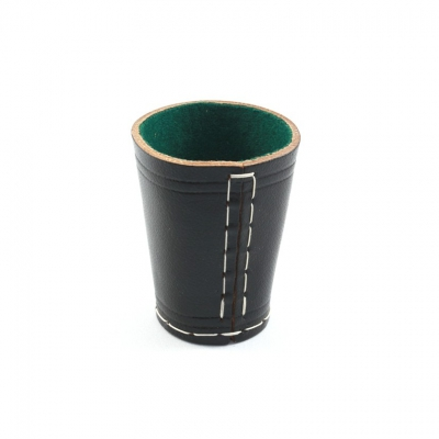 dice cup made from leather - ca. 8,5 cm x 6,5 cm - black