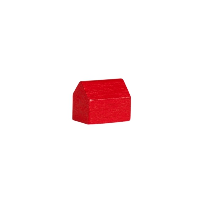 house - village - game pieces - wood - red - 14x10x12mm