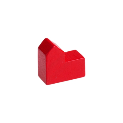 Church - house - city - game pieces - wood - red - 20x19x10mm
