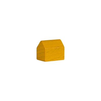 house - village - game pieces - wood - yellow - 14x10x12mm