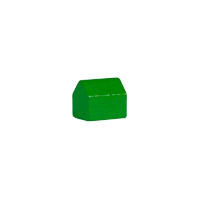 house - village - game pieces - wood - green - 14x10x12mm