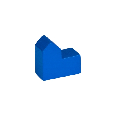 Church - house - city - game pieces - wood - blue - 20x19x10mm