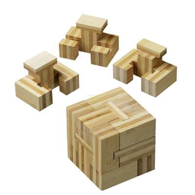 Slide-Cube - Bamboo - bamboo - 4 puzzle pieces