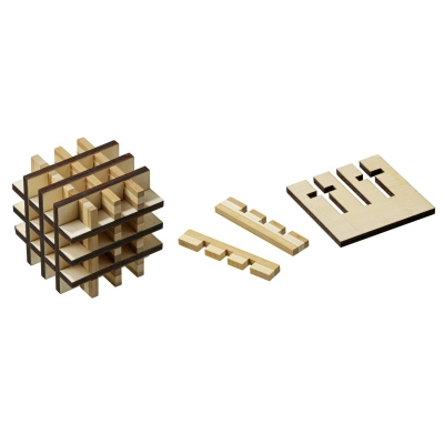 Grid-Cube - bamboo and Sperrwood - 18 puzzle pieces