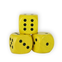 Dice (D6) - wooden - yellow - 16 mm