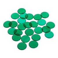 playing chips - gaming token - 22 mm - green - transparent