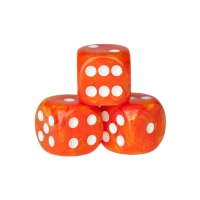 Dice - rio - orange - plastic - 16 mm
