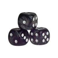 Dice - rio - black - plastic - 16 mm