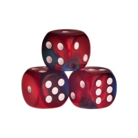 Dice - Los Angeles - red-blue - plastic - 16 mm