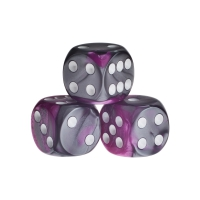 Dice - Los Angeles - pink-grey - plastic - 16 mm