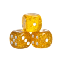 Dice - Peking - dark yellow - plastic - 16 mm